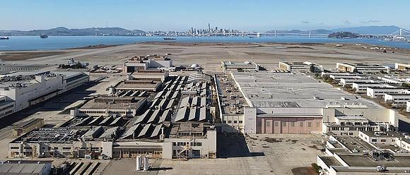 Former Navy aircraft repair buildings at Alameda Point.