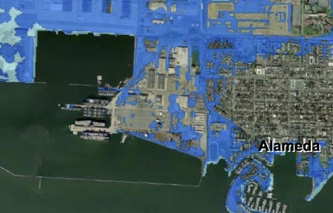 Alameda Point Sea Level Rise Map From Pacific Institute Alameda - Sea level rising map