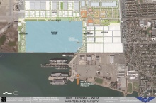 Alameda Point ferry terminal at Seaplane Lagoon and ferry maintenance facility on south side.