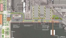 Seaplane Lagoon ferry terminal shoreline landscape, parking