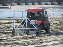 Radiation scanner on Seaplane Lagoon dredge sediment