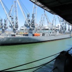 View of maritime ships from USS Hornet