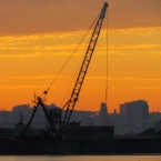 Sundown dredging at Seaplane Lagoon - Alameda Point