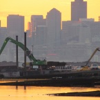 Moving the dredging mud at Seaplane Lagoon - Alameda Point