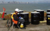 Site 1, Photo #23  Barrels at the screening pad, May 2007, on western shore of Alameda Point. (Navy contractor TetraTech, ECI photo)